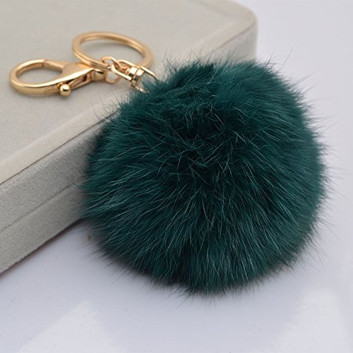 Leegoal(TM) Novelty Keychain with Plush Cute Artificial Rabbit Fur Key Chain for Car Key Ring Bag Purse Charm