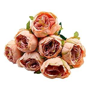 ZTTONE 1 Bouquet Vintage Artificial Peony Silk Flowers Bouquet for Home Decor Party Centerpieces Decoration (E) 13