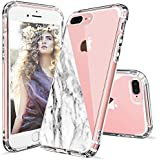 iPhone 7 Plus Case, iPhone 8 Plus Case Clear, MOSNOVO Half White Marble Clear Design Printed Plastic Hard Case with TPU Bumper Protective Case Cover for iPhone 7 Plus (2016) / iPhone 8 Plus (2017)