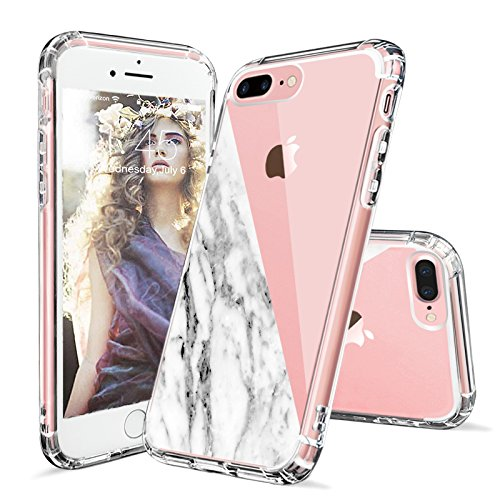 iPhone 7 Plus Case, iPhone 8 Plus Case Clear, MOSNOVO Half White Marble Clear Design Printed Plastic Hard Case with TPU Bumper Protective Case Cover for iPhone 7 Plus (2016) - Half Marble