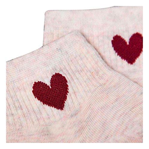 Heart Ankle Socks (Women Socks, Hunzed Women Heart Printed Socks Casual Above-Ankle Socks Crimping Vertical Cotton Socks (E))