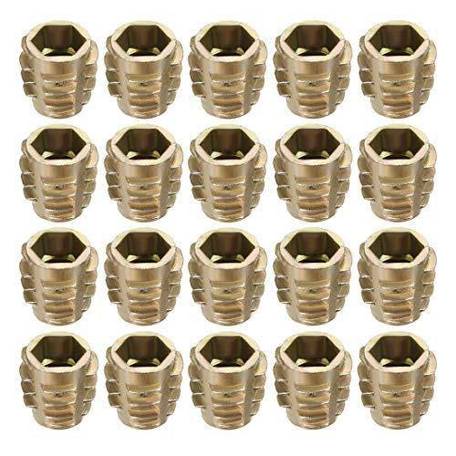 uxcell Threaded Insert Nuts Zinc Alloy Hex-Flush M8 Internal Threads 15mm Length 20pcs