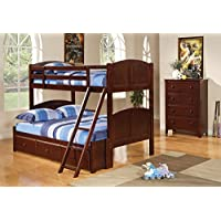 Coaster Parker Collection 460212 Twin Over Full Size Bunk Bed with Guard Rails Ladder Panel Styling and Solid Pine Wood Construction in Chestnut