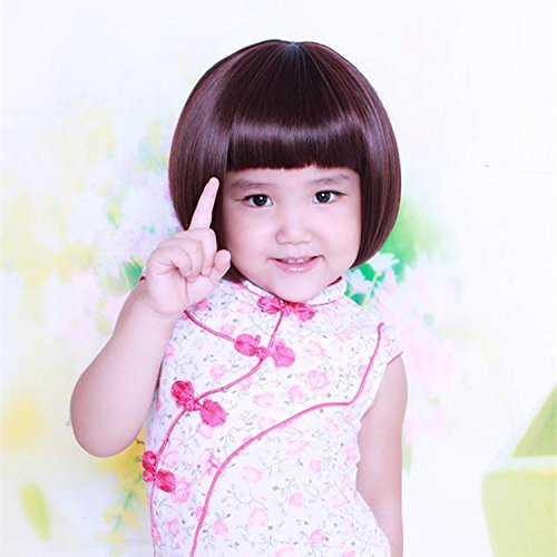 [Straight hair Bobo wigs head girls photography performances models girls cute little handsome girl wigs, high temperature wire , deep brown 1-4 years] (1 Yr Old Halloween Costume)