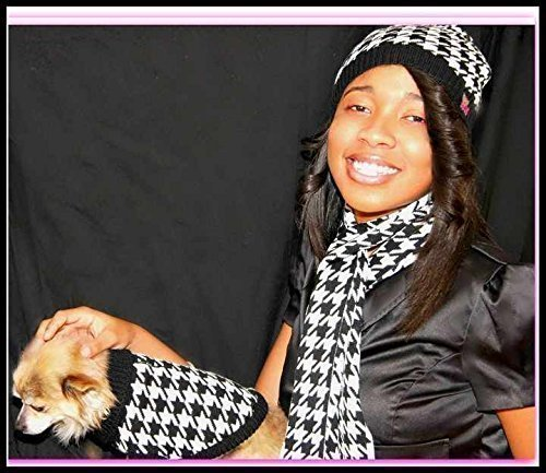 Custom Matching Houndstooth Dog Sweater and Owner Hat and Scarf SET