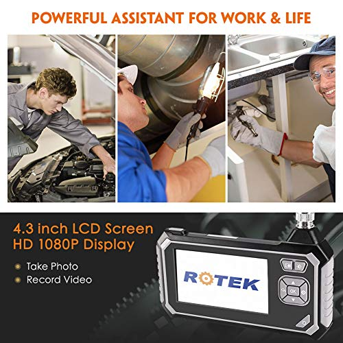 IP67 Waterproof Inspection Camera with 6 LED Lights Digital Video Recording Handheld Endoscope Industrial Endoscope,ROTEK 5M 1080P HD 4.3inch LCD Screen 2600mAh Battery Professional Borescope 16.4ft