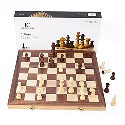 "LifeChamp Wooden Chess Set with 15"" Inch Large Folding Game Board and Storage for the Handcrafted Wood Chess Pieces"