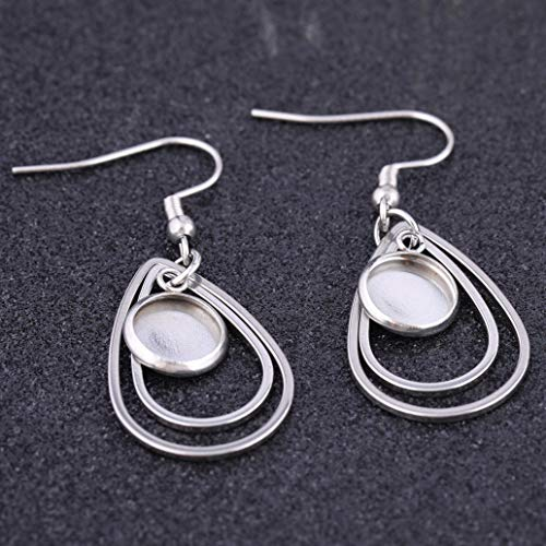 Silver Stainless Steel Earrings Bezel for DIY Jewelry Making Fit 12mm Cabochon Settings Trays LANBEIDE 40 Packs Earrings Wire Hooks Blanks