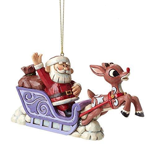 (Jim Shore for Enesco Rudolph with Santa Sleigh Ornament, 3 by Jim Shore for Enesco)