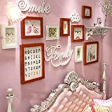 ALUS- 9 Multi Photo Frames Set Solid Wood Modern Minimalist Style Princess Room Bedroom Sofa Background Wall Photo Picture Wall Frame ( Color : #2 )
