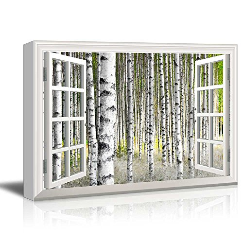 canvas print wall art window frame style wall decor birch trees in bright sunshine in late summer giclee print gallery wrap modern home decor - Window Frame Wall Decor