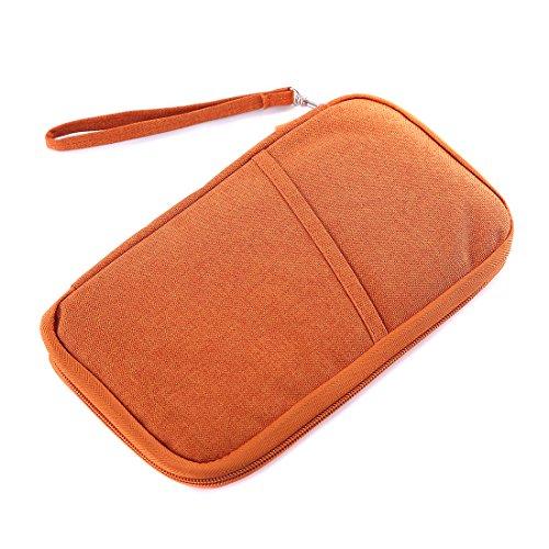 WINCAN Hands Strap Travel Clutch Bag Passport Wallet Waterproof Nylon (Orange)