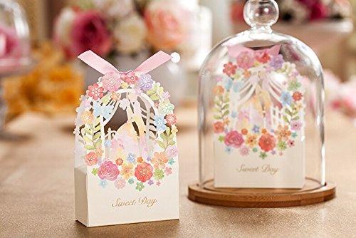 Worldoor 50ps Romantic Wedding Gift Box Elegant White Luxury Decoration Flower Bride Laser Cut Party Sweet Favors Wedding Paper Candy -