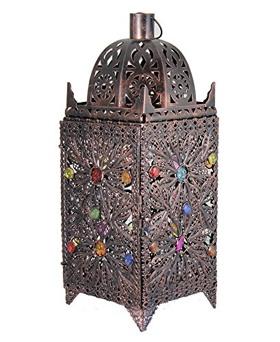 Essential Décor Entrada Collection Metal Lantern, 19.25 x 7.25 x 7.25 Inch, Multi Color
