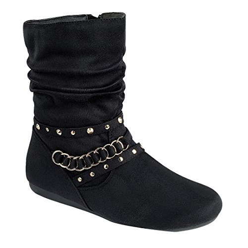 FOREVER FO08 Womens Metallic Studs Flat Heel Slouchy Mid Calf Boots Black JjX65X9f