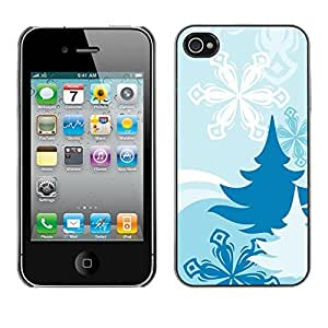 YOYO Slim PC / Aluminium Case Cover Armor Shell Portection //Christmas Holiday Blue Snow Pattern 1282 //Apple Iphone 4