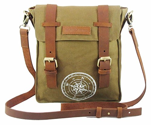 (The House of tara Wax Coated Cotton Canvas Messenger Bag 9