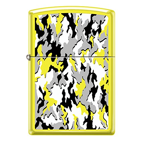 Neon Yellow Camouflage Custom Zippo Windproof Collectible Lighter. Made in USA