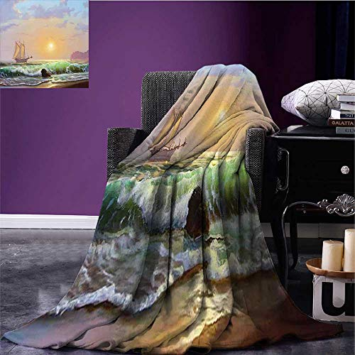 RenteriaDecor Marine Cozy Flannel Blanket Sailboat on The Sea Sunset and Forceful Waves Rocky Shore View Artwork Blanket for Sofa Couch Bed Pale Blue Green Peach Bed or Couch 60