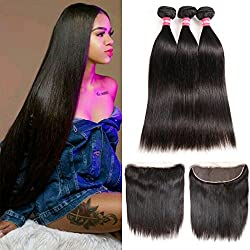 LONG YAO Brazilian Straight Virgin Hair 3 Bundles with Frontal Closure 13×4 Ear to Ear Lace Frontal with Bundles 100% Virgin Human Hair Extensions Weave weft Natural Color (10 12 14 W 12 Frontal)