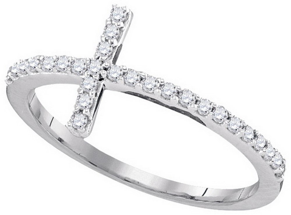 10kt White Gold Womens Round Diamond Christian Cross Religious Band Ring 1/5 Cttw (I2-I3 clarity; J-K color)