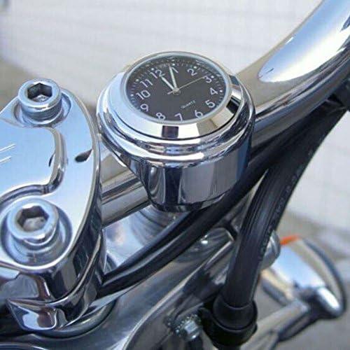 Liamostee 7 8 1 Motorrad Chrom Wasserdicht Anzeige Lenker Uhr Glüh Armbanduhr Schwarz Shell Silver Basis Küche Haushalt