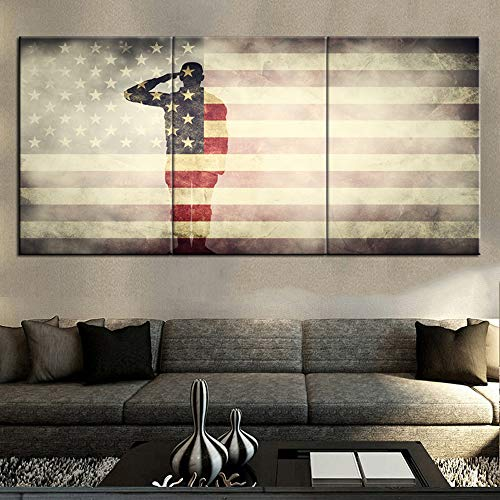 (Solider Saluting Silhouette Paintings Native American Flag Pictures 3 Piece Canvas Wall Art for Living Room Stars Stripes Artwork Home Decor Wooden Framed Ready to Hang Posters and)