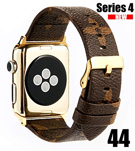 GOKE PU Vegan Leather Watch Band Brown Flower Printed Luxury Strap Ceplacement for 44mm Apple iWatch Series 4 (Brown Flower 44mm)