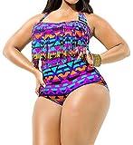 #9: Creabygirls Womens Plus Size Print High Waist Two Piece Tassel Swimsuits