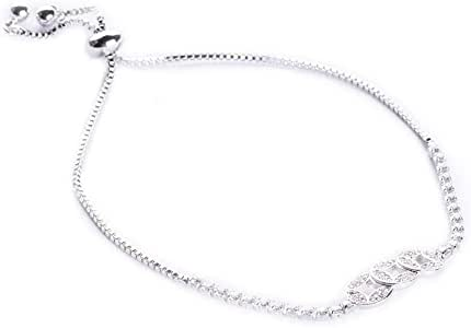 Bracelet, P-Silver, 3 Zircon Loops