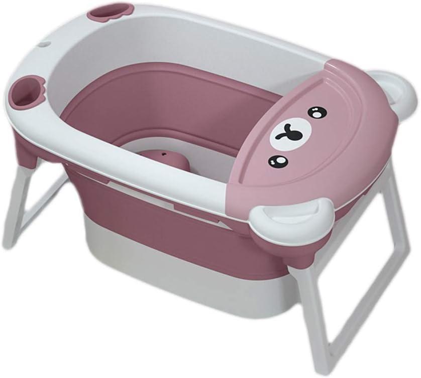ポータブル子供用折り畳み式浴槽、ベビー用浴槽、新生児用浴槽、座りデザイン、簡単な保管、高速排水、青とピンク、83 X 45 X 57 cm(色:ピンク)