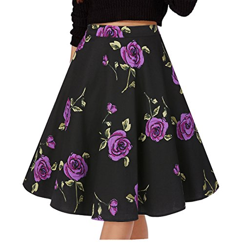Musever Women's Pleated Vintage Skirts Floral Print Casual Midi Skirt Floral-5 S
