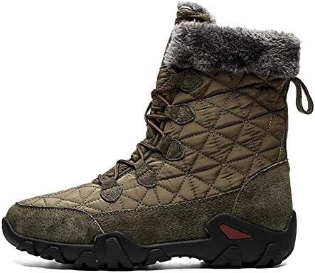 ミッドアウトドアシューズ快適なフェイクファーのライニングの女性の冬の暖かい寒い天気の靴男性レースアップオックスフォード布クラシック用スノーブーツ (色 : 緑, サイズ : 28.5 CM)