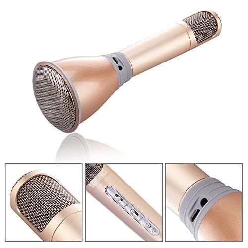 TOSING K068 Wireless Karaoke microfoni Bluetooth Speaker KTV lettore portatile Mini casa KTV musica suonando e cantando Sistema Macchina per iPhone / Android Smartphone / Tablet (oro/Rosa/Nero) (golde