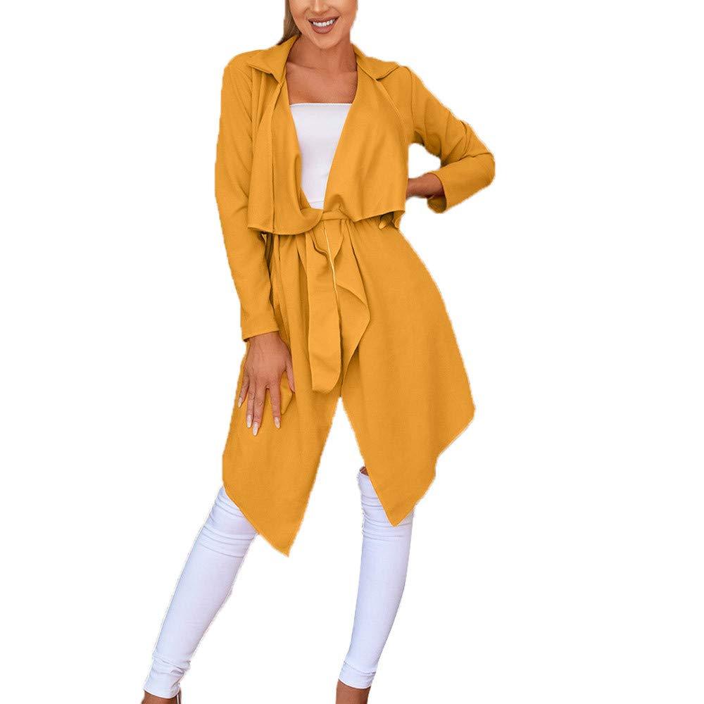 Cardigan Women's Loose Solid Coats Irregular Hem with Lapel Coat Trench Coat Cardigan Tops