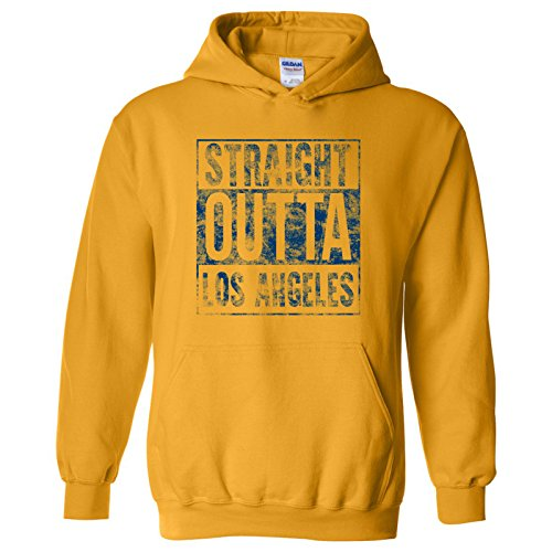 UGP Campus Apparel Straight Outta Los Angeles - California Football Hometown Pride Hoodie - X-Large - Gold
