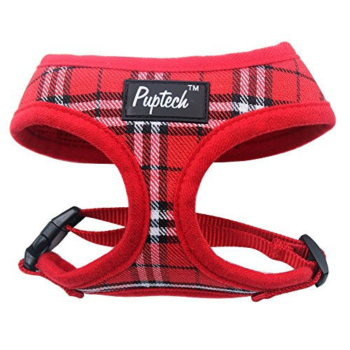 PUPTECK Soft Mesh Dog Harness Pet Puppy Comfort Padded Vest No Pull Harnesses , Red Small