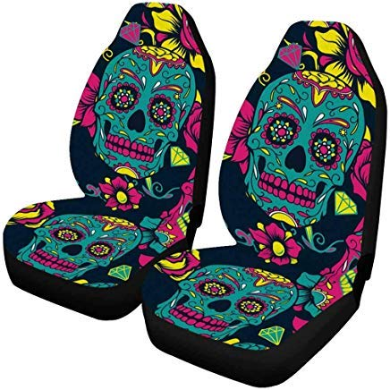 InterestPrint Day of The Dead Sugar Skull with Floral Auto Seat Covers Full Set of 2, Universal fit for Vehicles, Sedan and Jeep