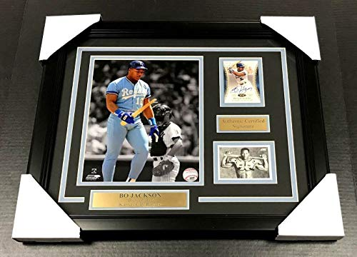 - BO JACKSON BROKEN BAT Autographed SIGNED Card WITH 8x10 PHOTO FRAMED KNOWS SCORE