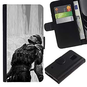 NEECELL GIFT forCITY // Billetera de cuero Caso Cubierta de protección Carcasa / Leather Wallet Case for Samsung Galaxy S5 V SM-G900 // Metal Gear B & W