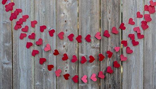 OrangeDolly's Red Heart Garland | Red Heart Garland | Heart Garland | Valentines Day Heart Garland | Love Garland |Paper Garland | Wedding Decoration | Bridal (Love 12' Single)