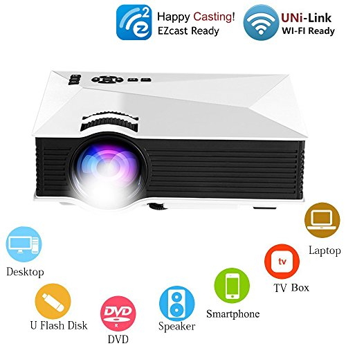 OAKLETREA WiFi Multimedia Mini Projector Updated Full Color Portable LCD LED Wireless Projector Support HD 1080P Video for Home Theater Cinema Game with HDMI Cable and AV to HDMI Video Audio Converter