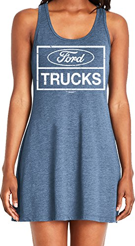 Amdesco Ladies Ford Trucks, Officially Licensed Ford Casual Racerback Tank Dress, Indigo Large ()
