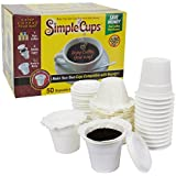 Disposable Cups for Use in Keurig® Brewers - Simple Cups - 50 Cups, Lids, and Filters - Use Your Own Coffee in K-cups