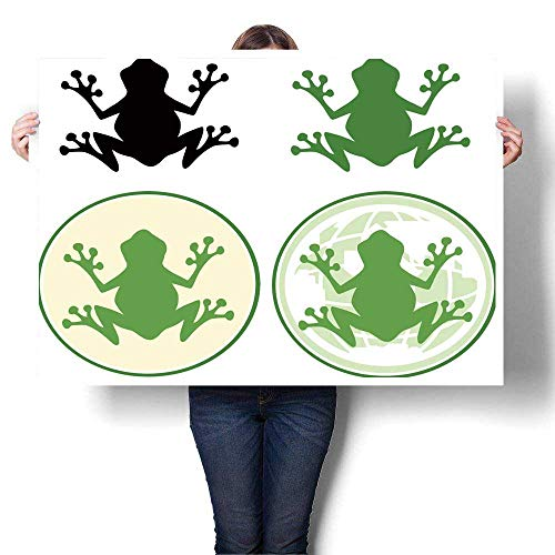 "SCOCICI1588 Wall Art Scenery Oil Painting Frog Design Vector Collection Set Oils,52"" W x 28"" L On Canvas (Frameless)"