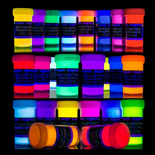 neon nights '3 Forces Set' - 24 Cans 8 Invisible UV Blacklight Paints - 8 Glow in The Dark Paints - 8 Invisible Blacklight Paints Set - Vibrant Ultraviolet Self-Luminous Black Light Paint - 20ml]()