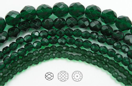 4mm (102) Medium Emerald, Czech Fire Polished Round Faceted Glass Beads, 16 inch strand