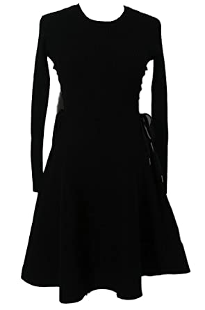 19d3de3a40 Cruiize Women s A Line Long Sleeve Knit Pleated Slim Bandege Midi Dress  Black XS