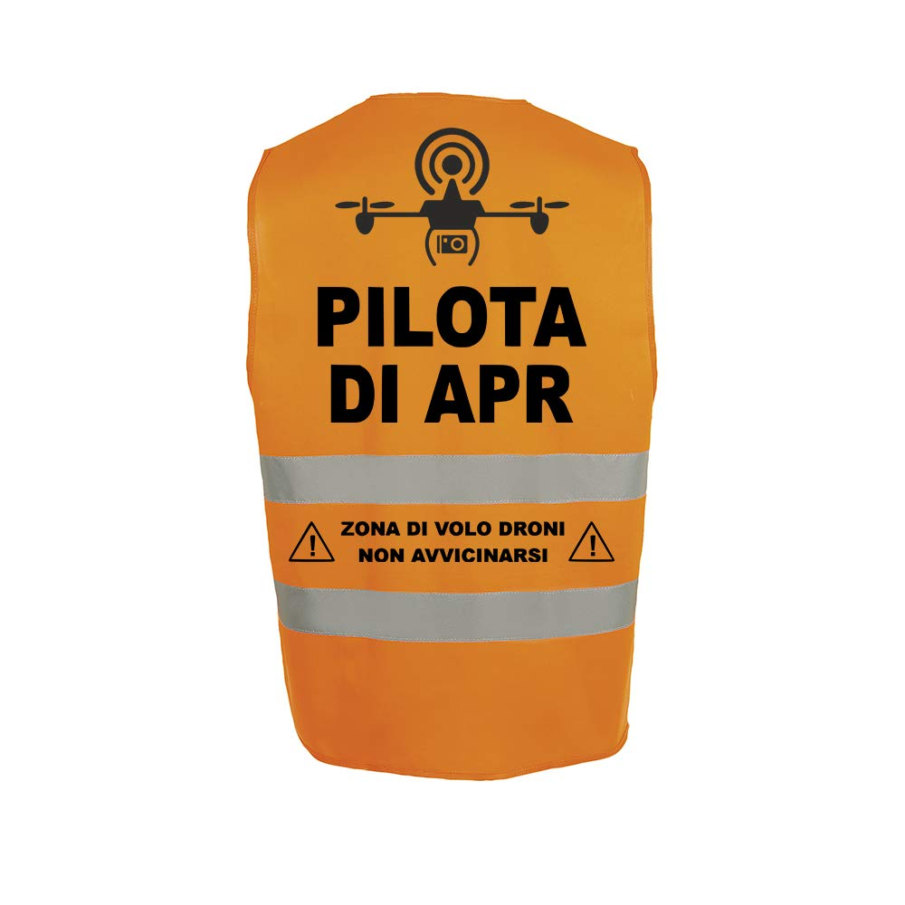 Fashion Graphic Gilet Pilota di Apr Drone Mod1 Alta visibilit/à Giallo Giubbotto Aderente Slim Fit Catarifrangente Sicurezza ISO EN20471 Arancione, L