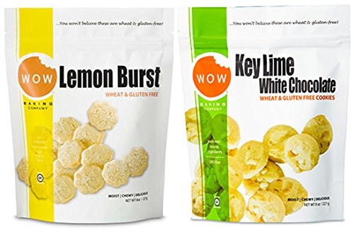 WOW Baking Company Cookies, Lemon Burst, Key Lime White Chocolate, 8-Ounce (Variety Bundle Pack of 2) (Wow Cookies Lemon)